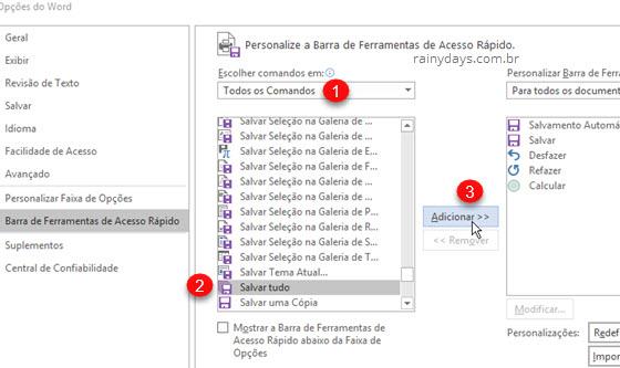 Adicionar comandos Salvar Tudo na barra de acesso rápido Office
