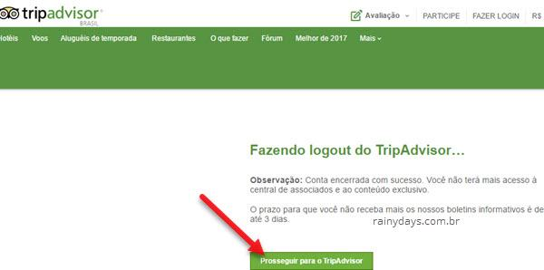 apagar conta do Tripadvisor permanentemente