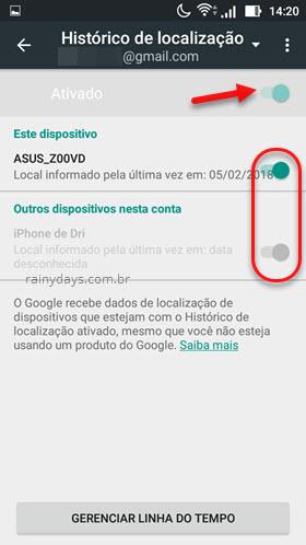 Ativar histórico de localização do Google dispositivos Android