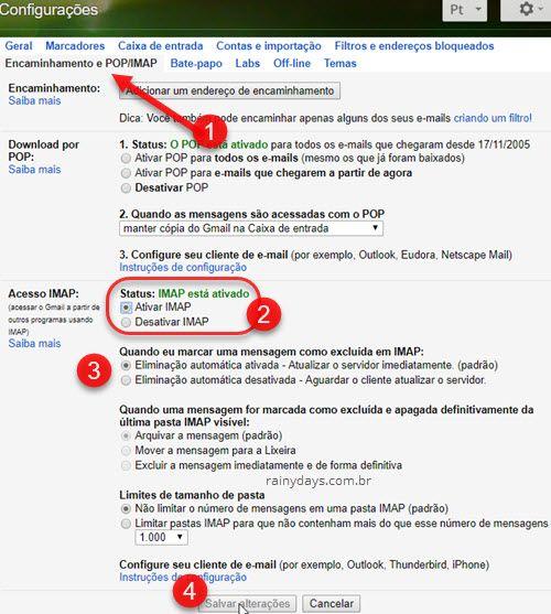 Ativar IMAP eliminação automática ativada Gmail