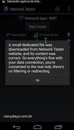 aviso de teste de download do Network Tester