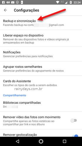 Backup e sincronização Google Fotos Android