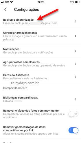 Backup e sincronização Google Fotos iPhone