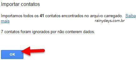 contatos importados para o Gmail