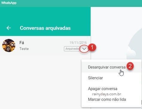 Desarquivar conversa no WhatsApp desktop