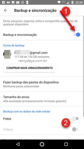 Desativar ativar sincronização Google Fotos Android