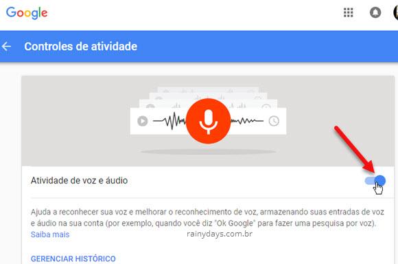 Desativar atividade de voz e áudio conta Google
