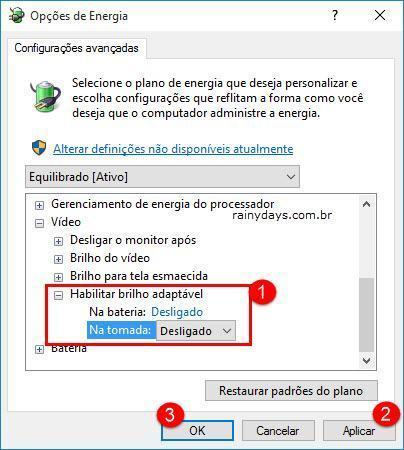 Desativar Brilho Adaptável da Tela no Windows 10