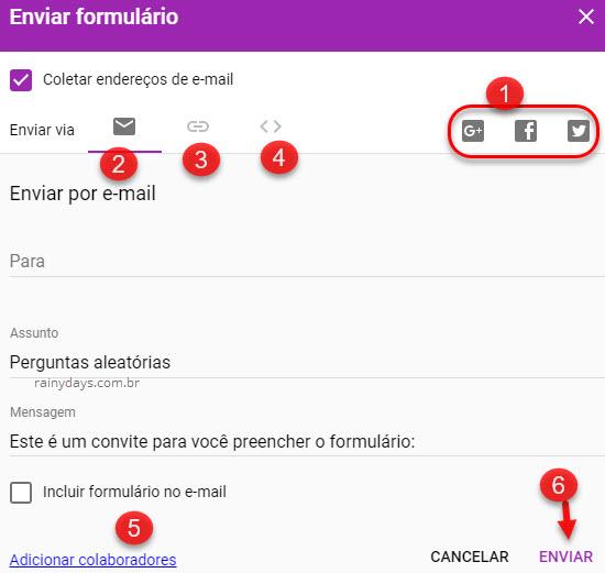 Enviar formulário Google