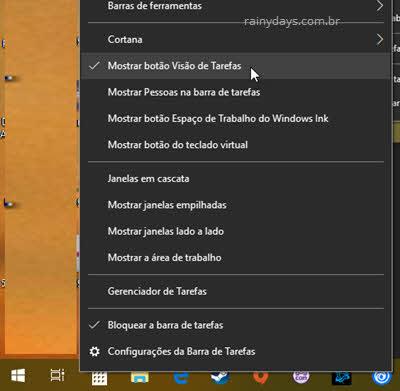 Esconder Visão de Tarefas da barra de tarefas Windows