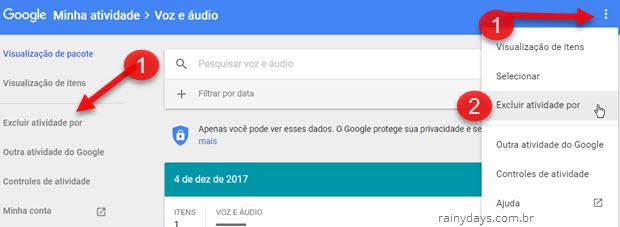Excluir atividade histórico por voz e áudio Google