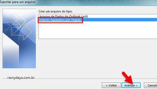 Exportar arquivo valores separados por vírgula no Outlook