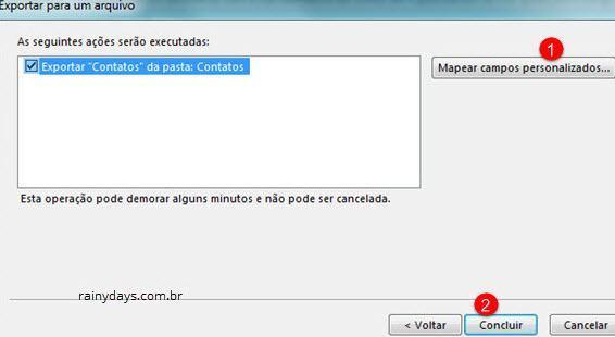 exportar contatos do Outlook para arquivo