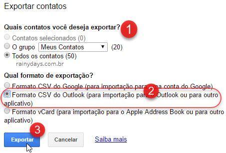 Exportar contatos formato CSV do Outlook