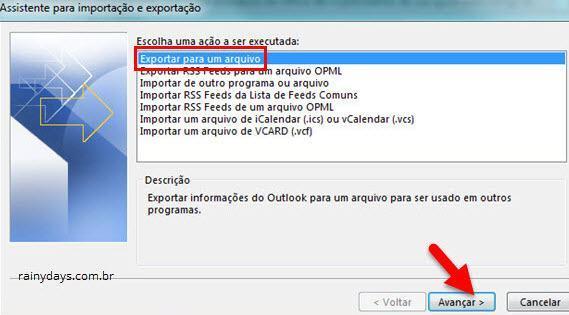 Exportar informações do Outlook para um arquivo