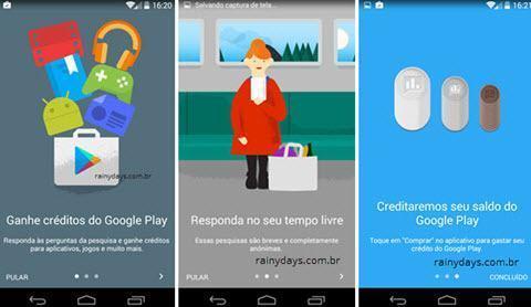 Ganhar créditos na Google Play respondendo pesquisas