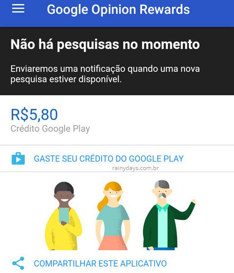 Ganhar dinheiro com Google Rewards para gastar Google Play