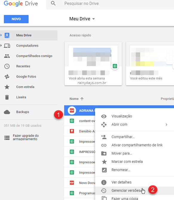 Gerenciar arquivos Google Drive Docs