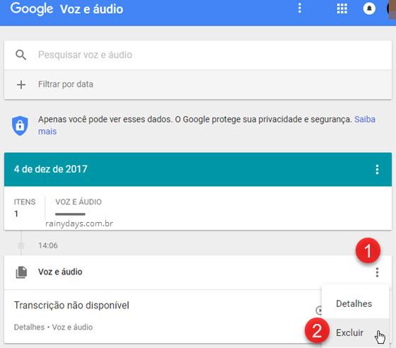 Google Voz e Áudio Excluir item