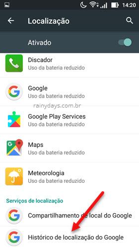 Histórico de Localização do Google Android