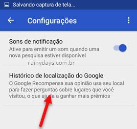 Histórico de localização do Google Rewards