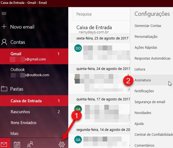 ícone engrenagem Assinaturas Email Windows 10