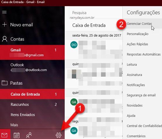 ícone Engrenagem Gerenciar contas Email Windows 10