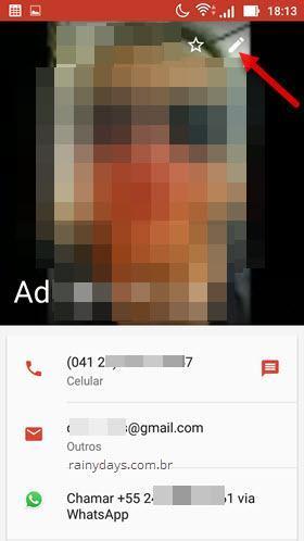 ícone do lápis editar contato no Android