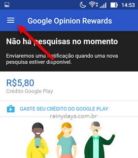 ícone três traços Google Rewards
