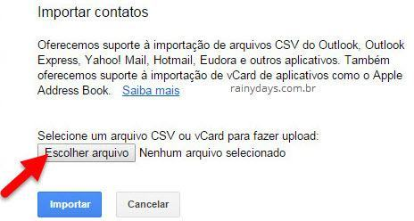 importar contatos csv no Gmail ou Contatos Google
