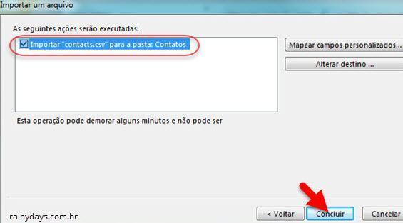 importar contatos do Gmail para Outlook