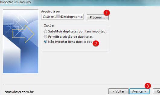 Importar contatos não importar itens duplicados Outlook