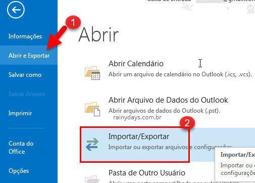 Importar ou exportar arquivos e configurações Outlook