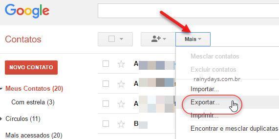 Mais Exportar contatos do Gmail Google