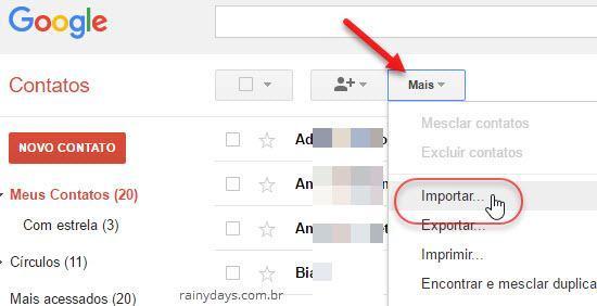 Mais Importar contatos no Gmail contatos Google