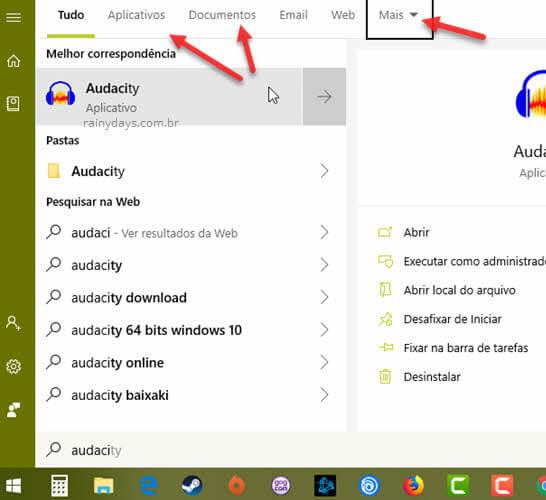 Menu Iniciar filtrar aplicativos, documentos, web, email outros