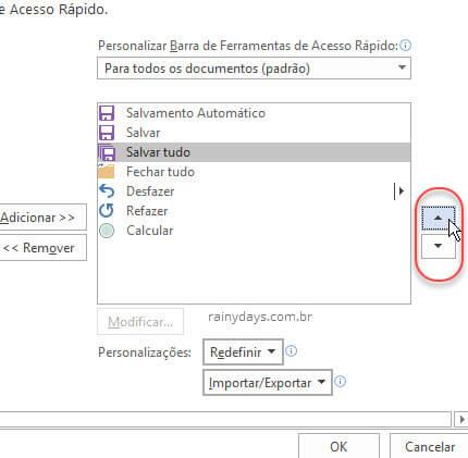 Ordenando botões de acesso rápido Word, Excel e PowerPoint
