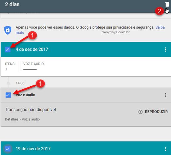 Selecionar itens histórico Google Voz para excluir lixeira