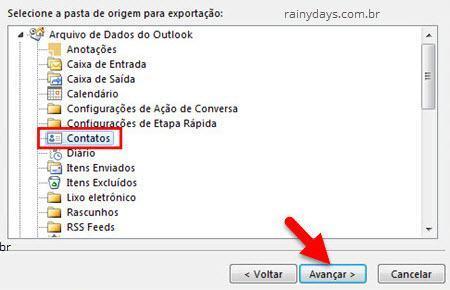 selecionar pasta de contatos para exportação no Outlook