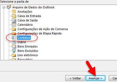 selecione pasta Contatos para importar para Outlook