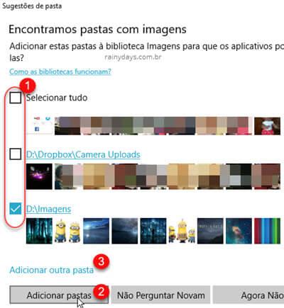 Adicionar e remover pastas no app Fotos do Windows, selecionar pastas