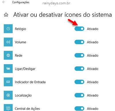 Ativar ou desativar ícones do sistema Windows esconder