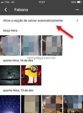 Ative opção de salvar automaticamente fotos compartilhadas Google Fotos