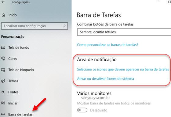 Barra de tarefas Área de Notificação esconder ícones