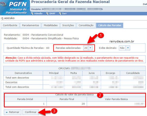 cálculo parcela básica parcelamento Dívida Ativa União PGFN