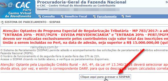 Clique aqui para acessar SISPAR ecac Fazenda Nacional