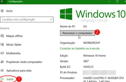 Como renomear o computador no Windows 10