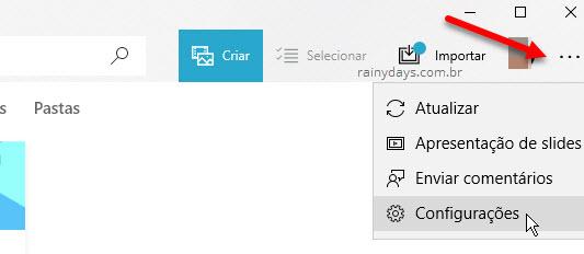 Configurações aplicativo FOtos Windows