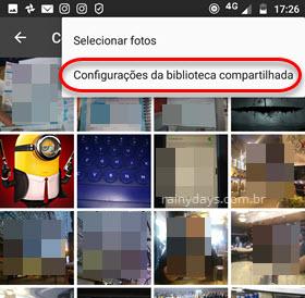 Configurações da Biblioteca compartilhada Google Fotos