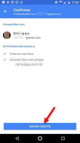 Enviar convite para compartilhar Google Fotos